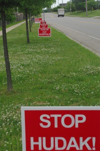 Signage outside a polling station, Hespeler, Ontario.